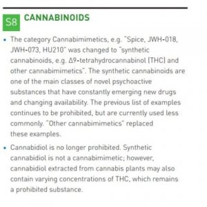 Here is the passage of the new WADA 2018 Prohibited List that references cannabinoids